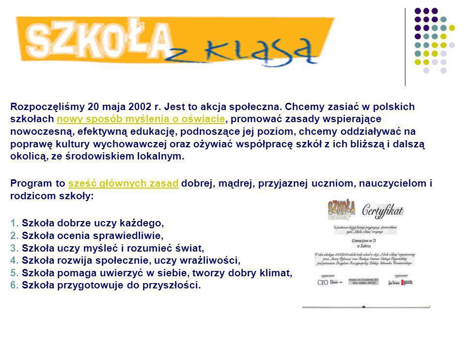 Rozpoczęliśmy 20 maja 2002 r. Jest to akcja społeczna.