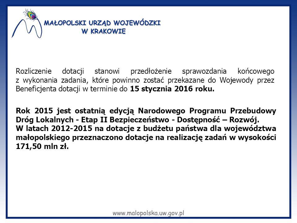 Rozliczenie dotacji stanowi przedłożenie sprawozdania końcowego z wykonania zadania, które powinno zostać przekazane do Wojewody przez Beneficjenta dotacji w terminie do 15 stycznia 2016 roku.