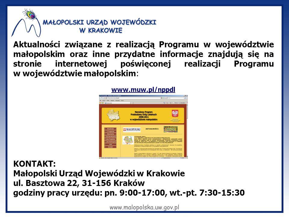 Aktualności związane z realizacją Programu w województwie małopolskim oraz inne przydatne informacje znajdują się na stronie internetowej poświęconej realizacji Programu w województwie małopolskim: www.muw.pl/nppdl KONTAKT: Małopolski Urząd Wojewódzki w Krakowie ul.