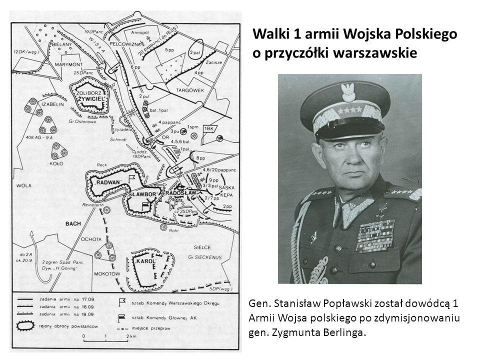 Walki 1 armii Wojska Polskiego o przyczółki warszawskie Gen. Stanisław Popławski został dowódcą 1 Armii Wojsa polskiego po zdymisjonowaniu gen. Zygmun