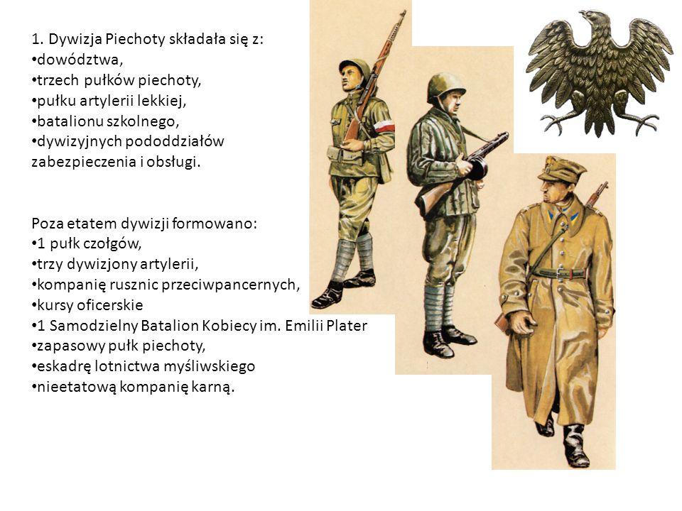 1. Dywizja Piechoty składała się z: dowództwa, trzech pułków piechoty, pułku artylerii lekkiej, batalionu szkolnego, dywizyjnych pododdziałów zabezpie
