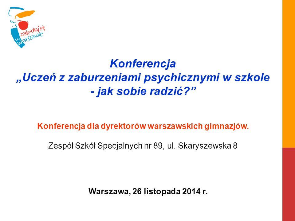 """Konferencja """"Uczeń z zaburzeniami psychicznymi w szkole - jak sobie radzić?"""" Konferencja dla dyrektorów warszawskich gimnazjów. Zespół Szkół Specjalny"""