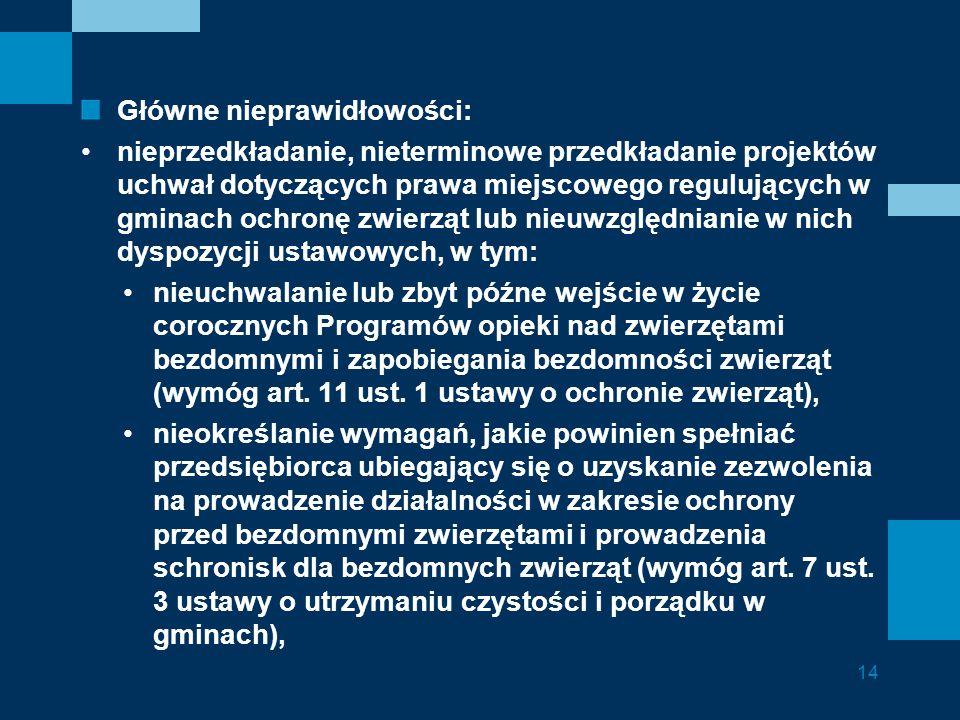 Główne nieprawidłowości: nieprzedkładanie, nieterminowe przedkładanie projektów uchwał dotyczących prawa miejscowego regulujących w gminach ochronę zw