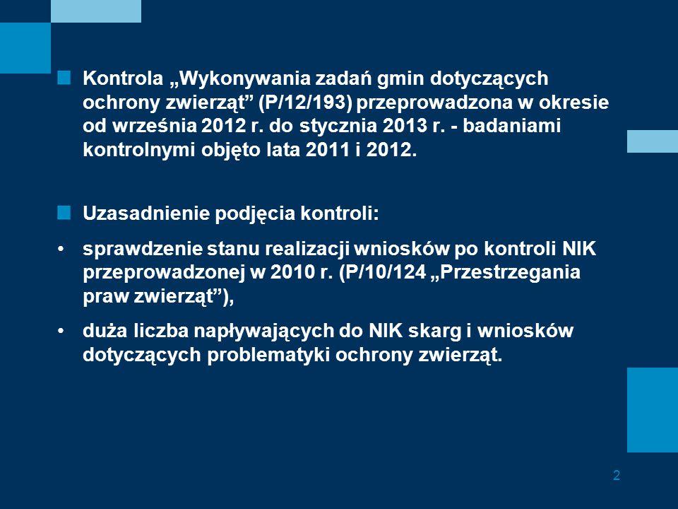"""Kontrola """"Wykonywania zadań gmin dotyczących ochrony zwierząt"""" (P/12/193) przeprowadzona w okresie od września 2012 r. do stycznia 2013 r. - badaniami"""