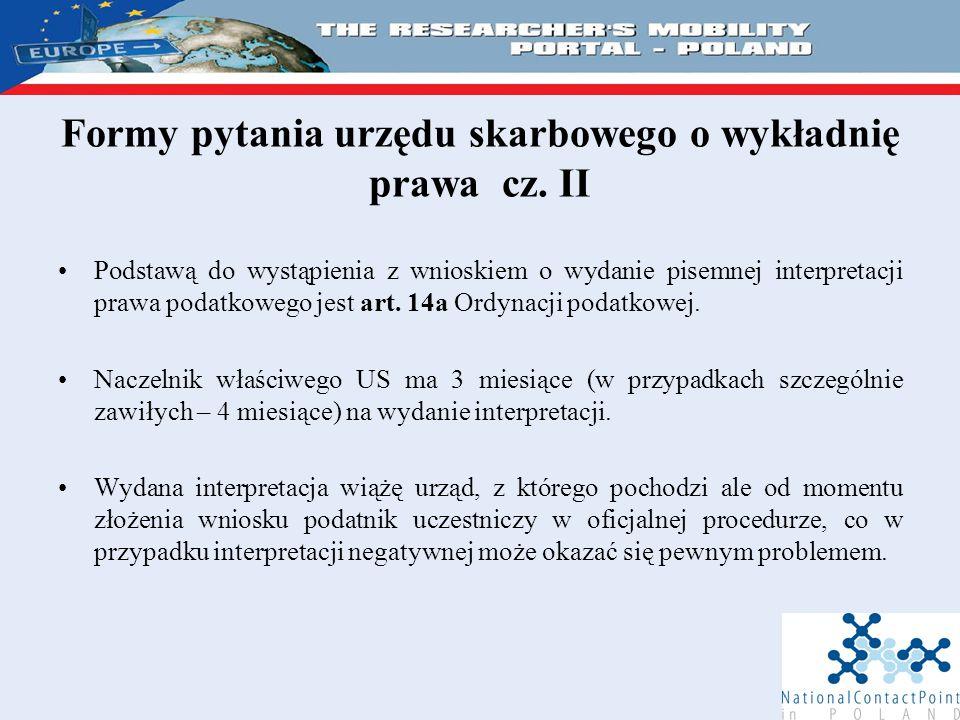 Formy pytania urzędu skarbowego o wykładnię prawa cz.