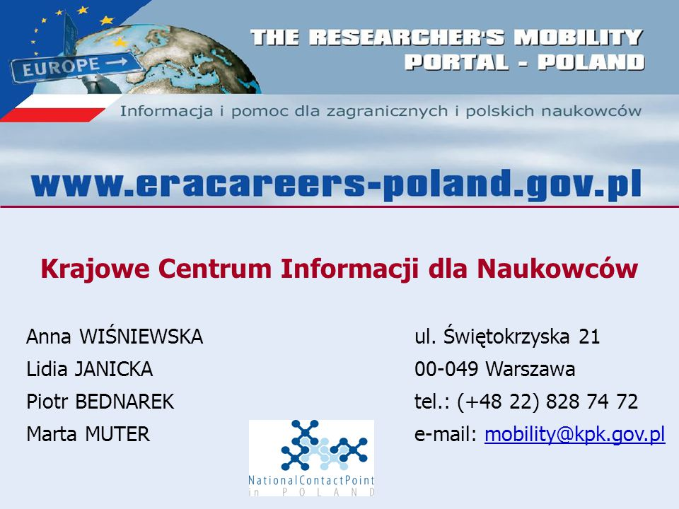 Krajowe Centrum Informacji dla Naukowców Anna WIŚNIEWSKAul.
