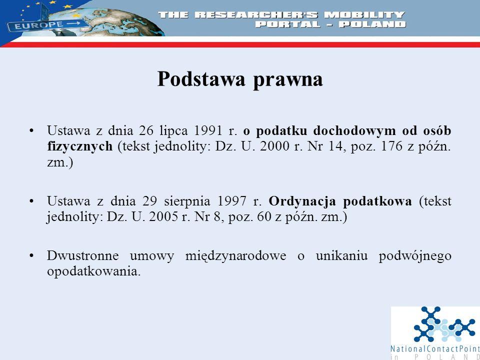 Podstawa prawna Ustawa z dnia 26 lipca 1991 r.