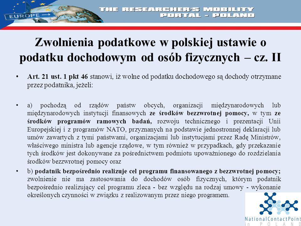 Zwolnienia podatkowe w polskiej ustawie o podatku dochodowym od osób fizycznych – cz.