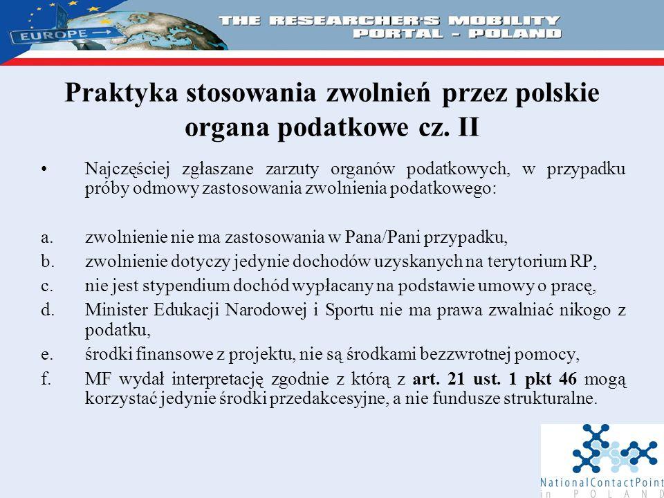 Praktyka stosowania zwolnień przez polskie organa podatkowe cz.