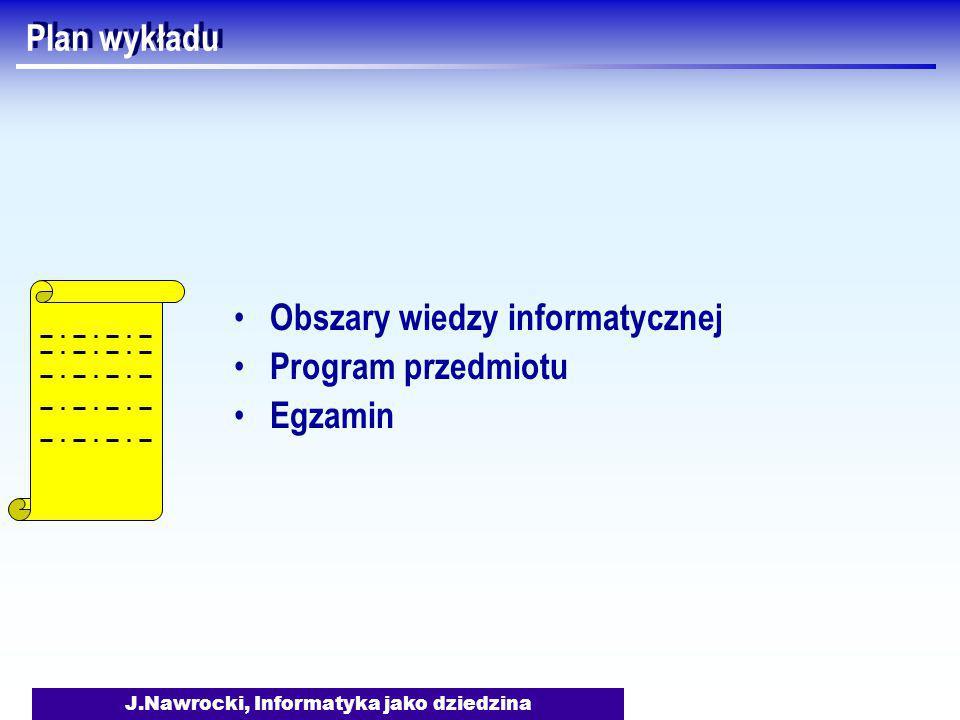 J.Nawrocki, Informatyka jako dziedzina Plan wykładu Obszary wiedzy informatycznej Program przedmiotu Egzamin