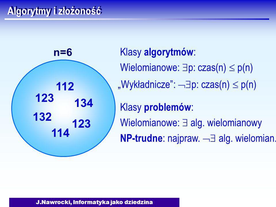 """J.Nawrocki, Informatyka jako dziedzina Algorytmy i złożoność Klasy algorytmów : Wielomianowe:  p: czas(n)  p(n) """"Wykładnicze :  p: czas(n)  p(n) Klasy problemów : Wielomianowe:  alg."""
