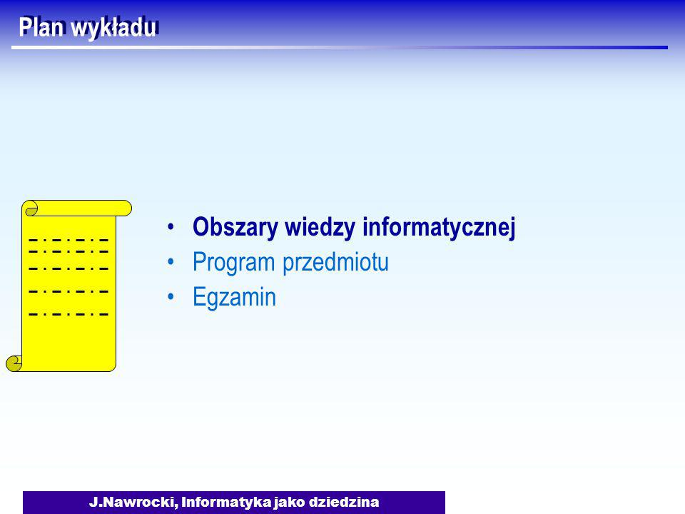 J.Nawrocki, Informatyka jako dziedzina Egzamin Termin ??.