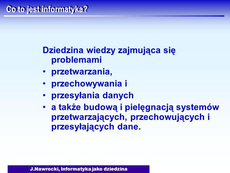 J.Nawrocki, Informatyka jako dziedzina Curriculum 2001 - Obszary wiedzy 1.Struktury dyskretne (43) 2.Podstawy programowania (38) 3.Algorytmy i złożoność (31) 4.Architektura i organizacja (36) 5.Systemy operacyjne (18) 6.Obliczenia w sieciach (15) 7.Języki programowania (21) 8.Komunikacja człowiek-komputer (8) 9.Grafika i wizualizacja (3) 10.Systemy inteligentne (10) 11.Zarządzanie informacją (10) 12.Społeczne aspekty informatyki (16) 13.Inżynieria oprogramowania (31) 14.Obliczenia i metody numeryczne (0)