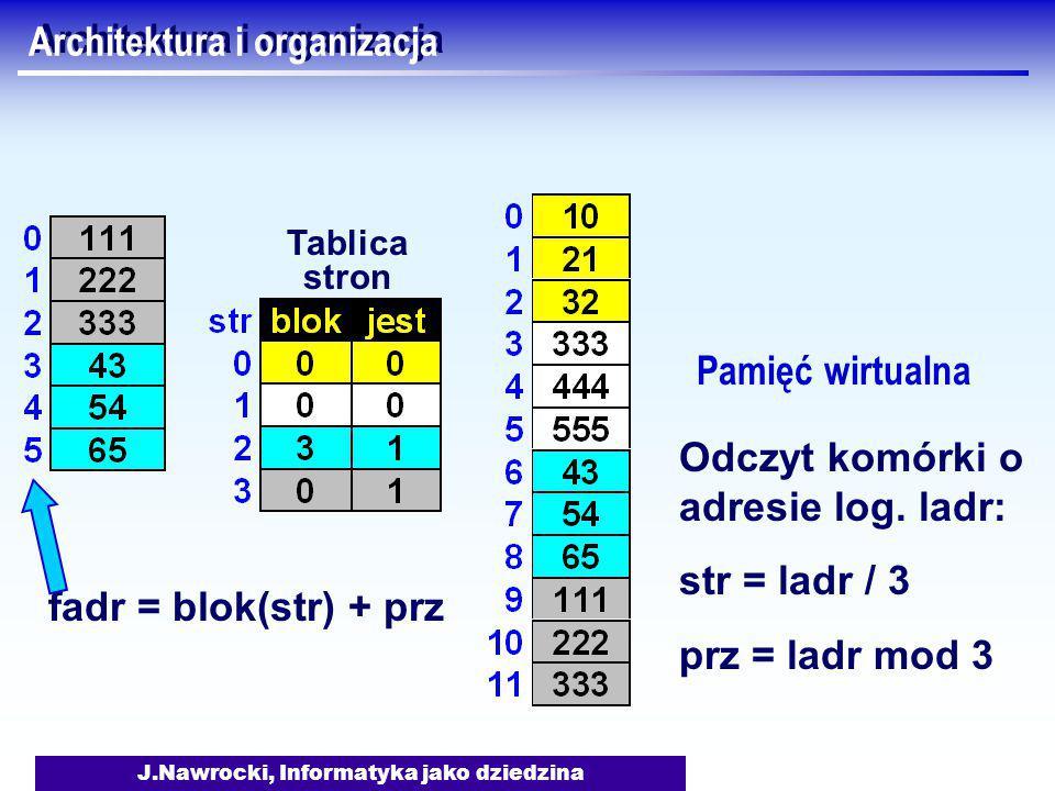 J.Nawrocki, Informatyka jako dziedzina Architektura i organizacja Pamięć wirtualna Tablica stron fadr = blok(str) + prz Odczyt komórki o adresie log.