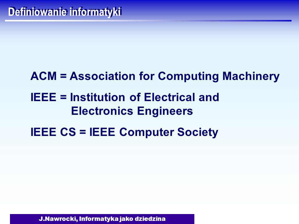 J.Nawrocki, Informatyka jako dziedzina Trzy filary informatyki Matematyka Nauki ścisłe (science) Inżynieria Mathematics Science Engineering