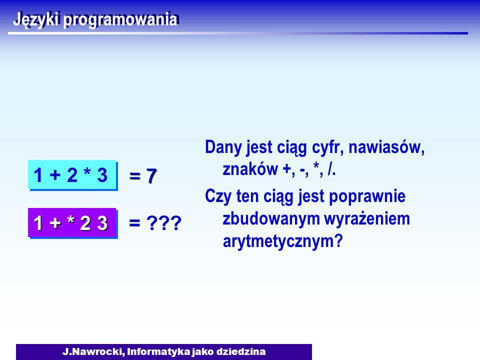 J.Nawrocki, Informatyka jako dziedzina Języki programowania Dany jest ciąg cyfr, nawiasów, znaków +, -, *, /.