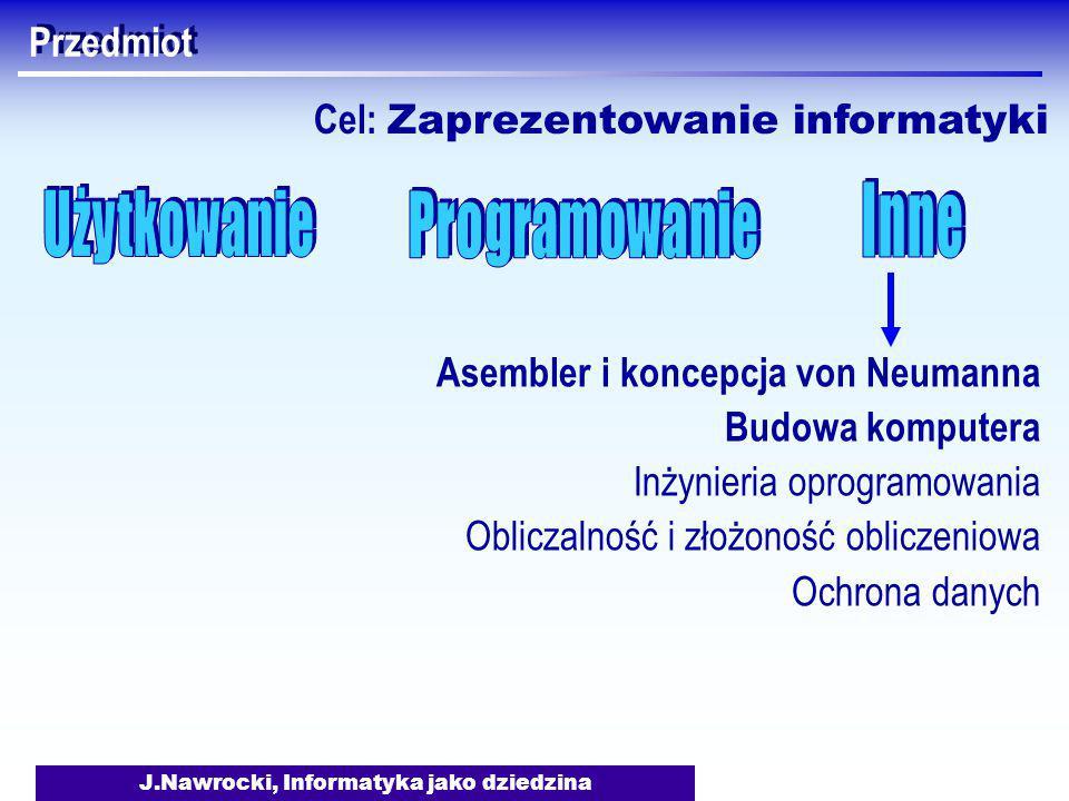 J.Nawrocki, Informatyka jako dziedzina Przedmiot Asembler i koncepcja von Neumanna Budowa komputera Inżynieria oprogramowania Obliczalność i złożoność obliczeniowa Ochrona danych Cel: Zaprezentowanie informatyki