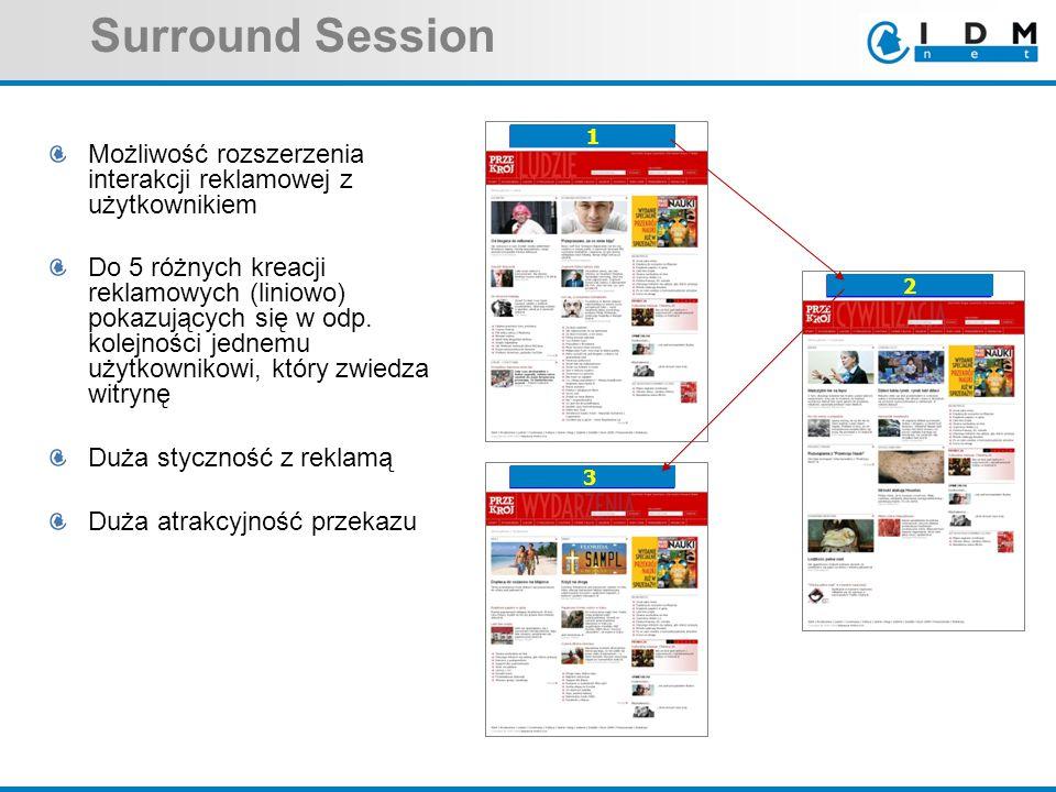 Surround Session Możliwość rozszerzenia interakcji reklamowej z użytkownikiem Do 5 różnych kreacji reklamowych (liniowo) pokazujących się w odp. kolej