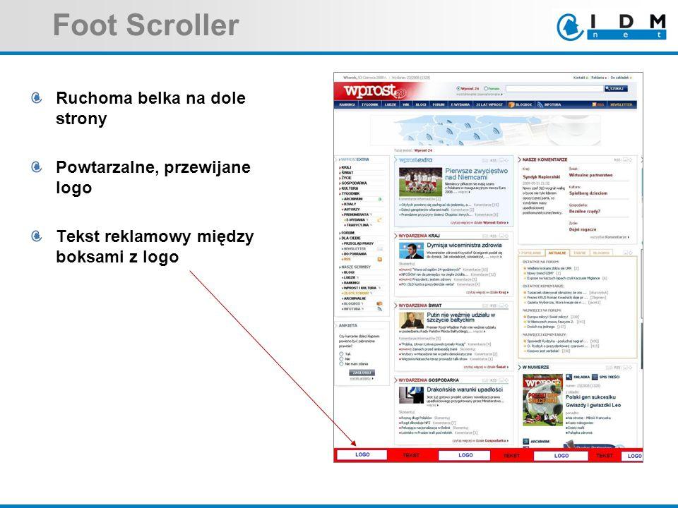 Foot Scroller Ruchoma belka na dole strony Powtarzalne, przewijane logo Tekst reklamowy między boksami z logo