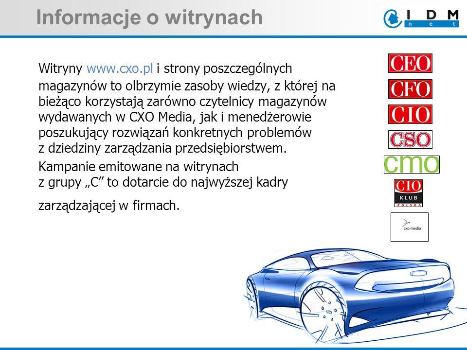 Informacje o witrynach Witryny www.cxo.pl i strony poszczególnych magazynów to olbrzymie zasoby wiedzy, z której na bieżąco korzystają zarówno czytelnicy magazynów wydawanych w CXO Media, jak i menedżerowie poszukujący rozwiązań konkretnych problemów z dziedziny zarządzania przedsiębiorstwem.