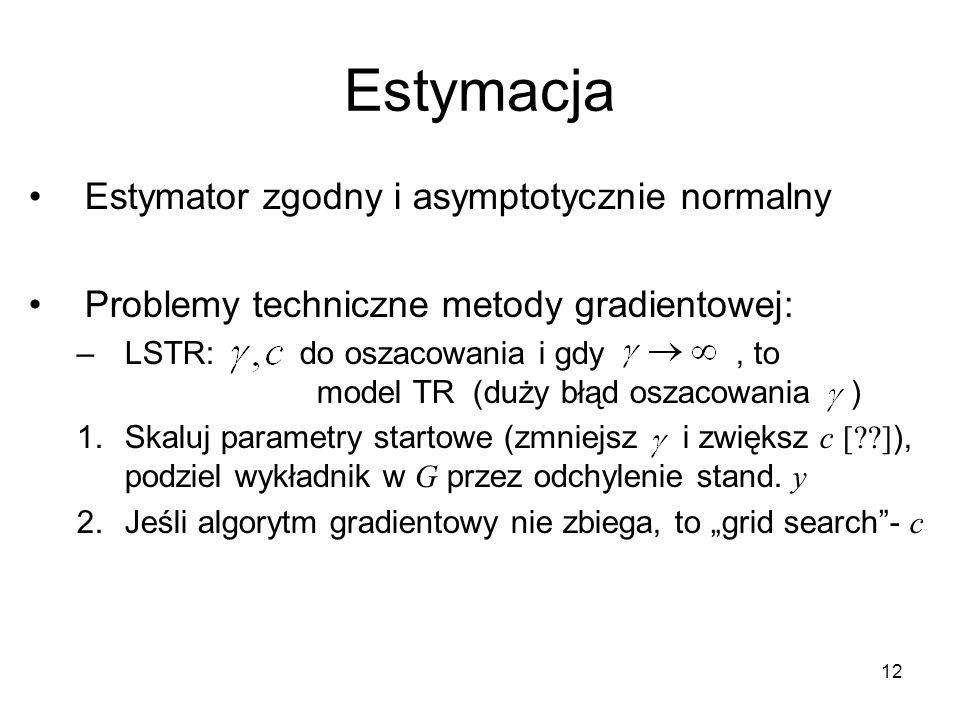 12 Estymacja Estymator zgodny i asymptotycznie normalny Problemy techniczne metody gradientowej: –LSTR: do oszacowania i gdy, to model TR (duży błąd oszacowania ) 1.Skaluj parametry startowe (zmniejsz i zwiększ c [??] ), podziel wykładnik w G przez odchylenie stand.
