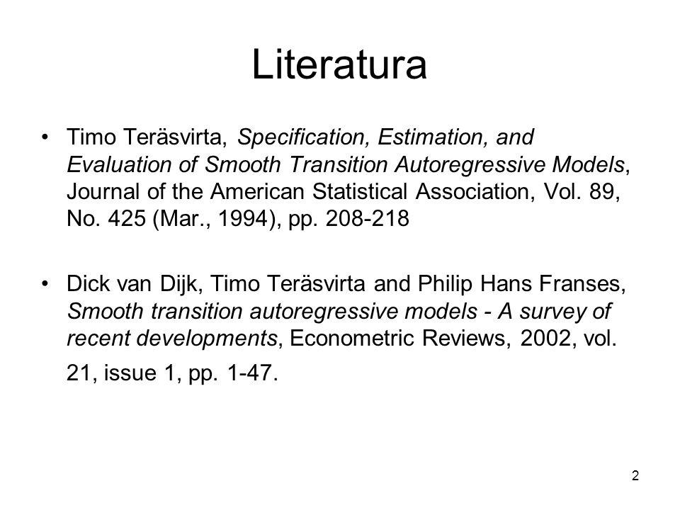 23 Autokorelacja składnika losowego Niech Oszacuj model STR i oblicz reszty Obliczgdzie Oszacuj model liniowy i oblicz R-kwadrat: Rozszerzenie testu Godfreya (1979): H 0 : brak autokorelacji