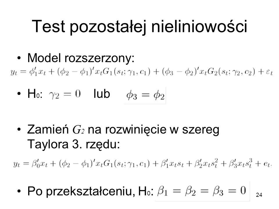24 Test pozostałej nieliniowości Model rozszerzony: H 0 : lub Zamień G 2 na rozwinięcie w szereg Taylora 3. rzędu: Po przekształceniu, H 0 :