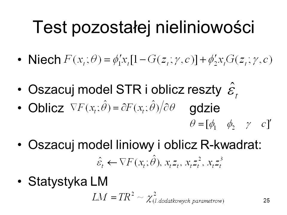 25 Test pozostałej nieliniowości Niech Oszacuj model STR i oblicz reszty Obliczgdzie Oszacuj model liniowy i oblicz R-kwadrat: Statystyka LM