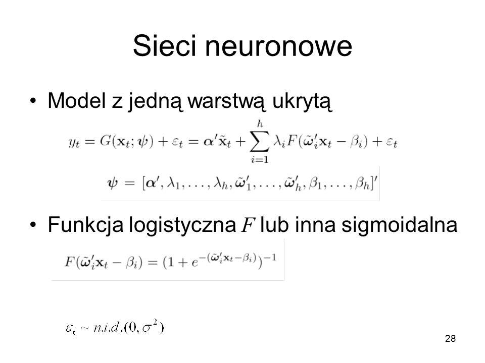28 Sieci neuronowe Model z jedną warstwą ukrytą Funkcja logistyczna F lub inna sigmoidalna