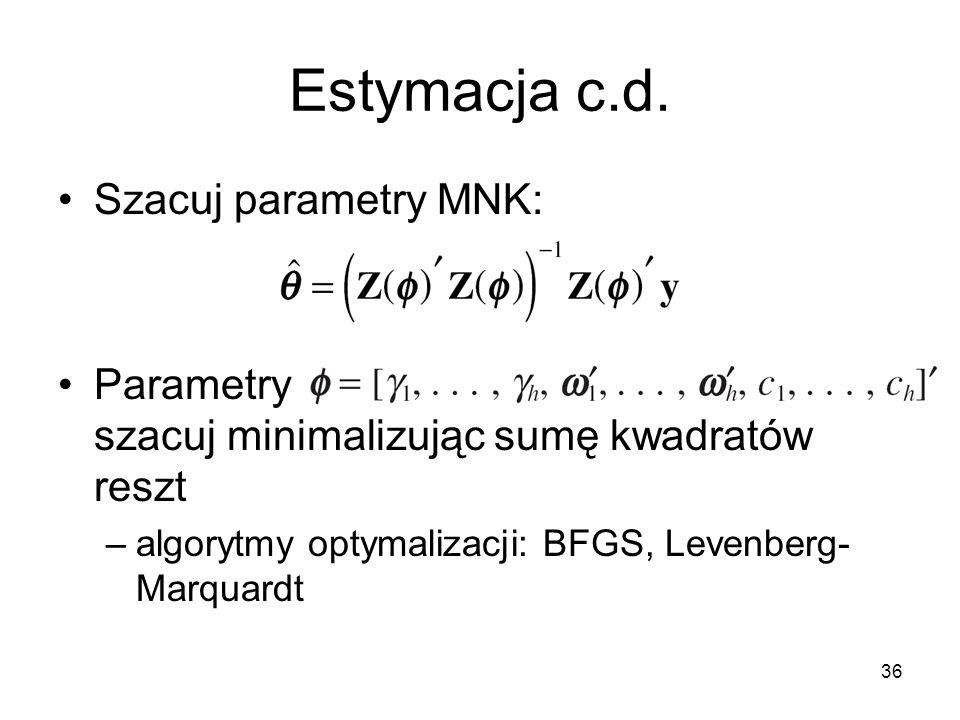 36 Estymacja c.d. Szacuj parametry MNK: Parametry szacuj minimalizując sumę kwadratów reszt –algorytmy optymalizacji: BFGS, Levenberg- Marquardt
