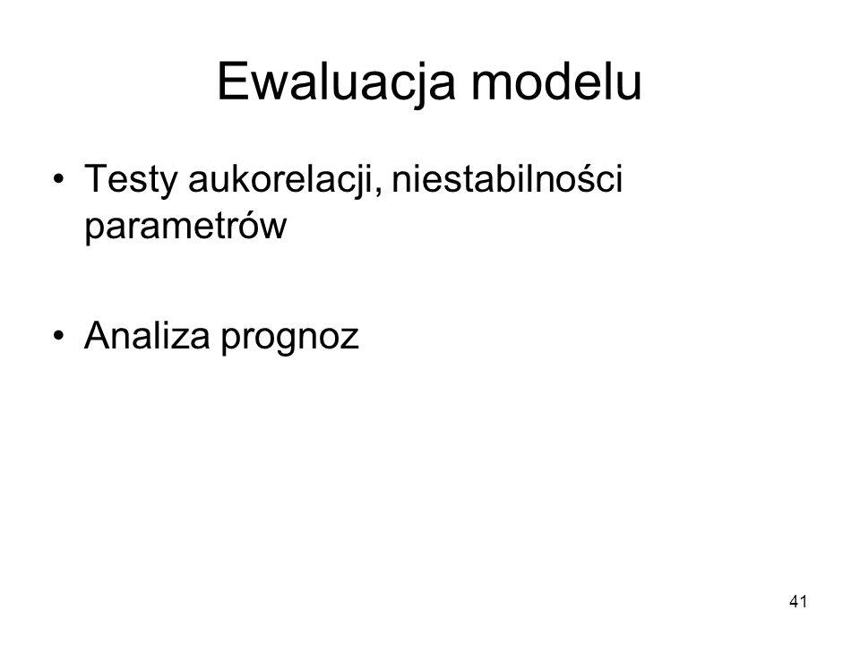 41 Ewaluacja modelu Testy aukorelacji, niestabilności parametrów Analiza prognoz