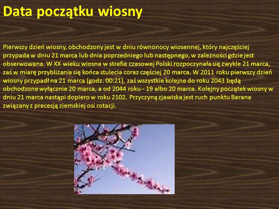 Data początku wiosny Pierwszy dzień wiosny, obchodzony jest w dniu równonocy wiosennej, który najczęściej przypada w dniu 21 marca lub dnia poprzednie