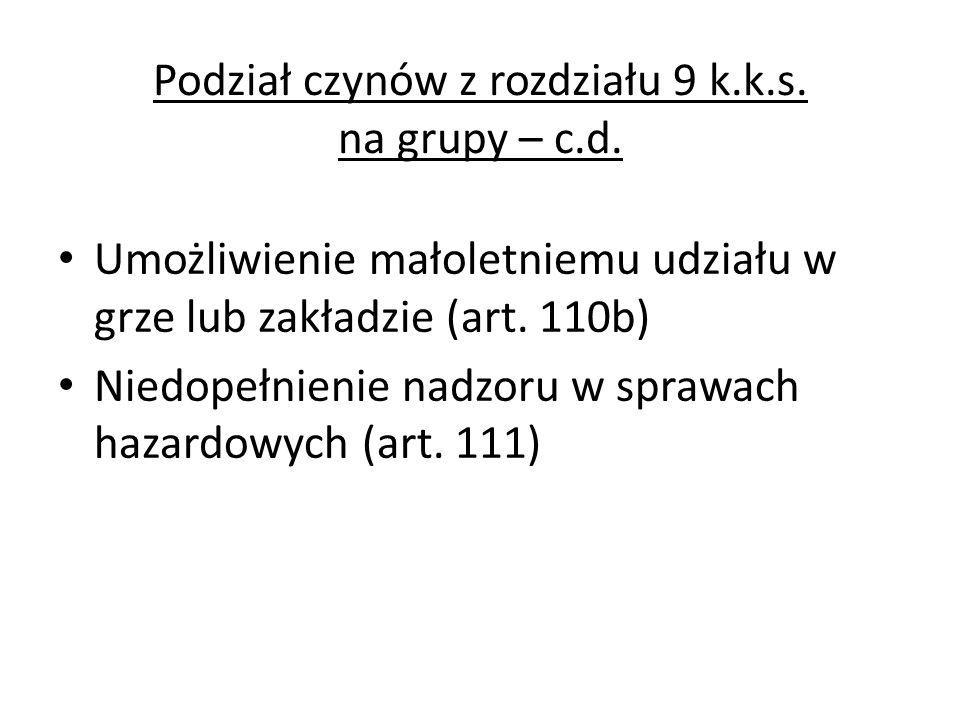Podział czynów z rozdziału 9 k.k.s. na grupy – c.d. Umożliwienie małoletniemu udziału w grze lub zakładzie (art. 110b) Niedopełnienie nadzoru w sprawa