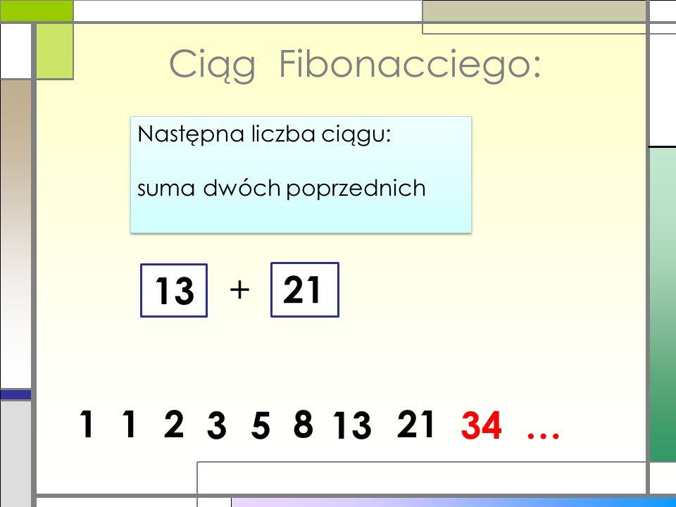 21 Ciąg Fibonacciego: Następna liczba ciągu: suma dwóch poprzednich Następna liczba ciągu: suma dwóch poprzednich 1 + 13 12 53 218 1334…
