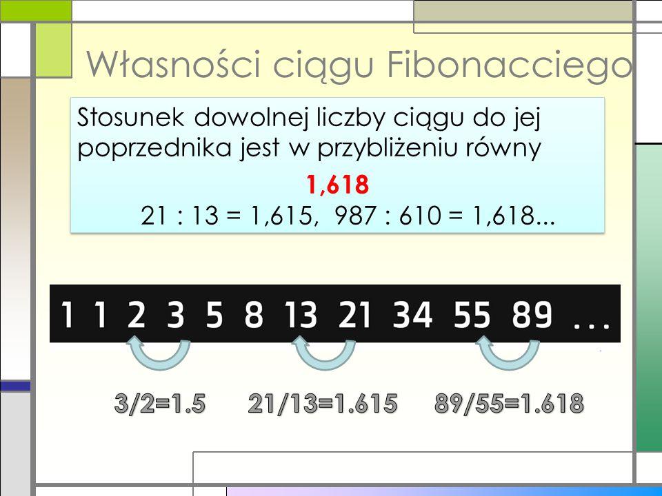 Własności ciągu Fibonacciego Stosunek dowolnej liczby ciągu do jej poprzednika jest w przybliżeniu równy 1,618 21 : 13 = 1,615, 987 : 610 = 1,618... S