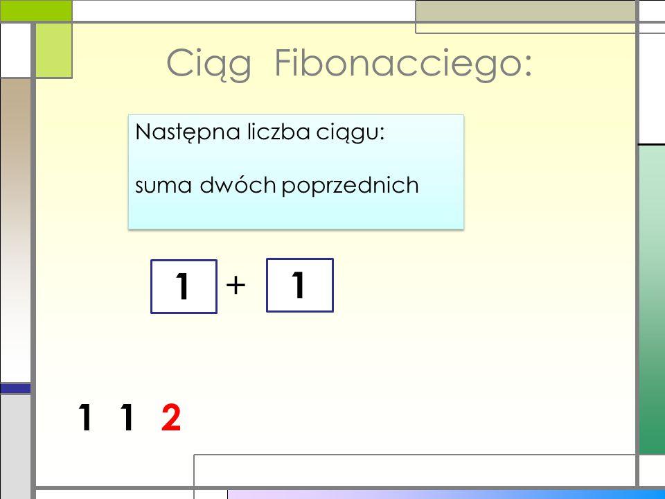 1 Ciąg Fibonacciego: Następna liczba ciągu: suma dwóch poprzednich Następna liczba ciągu: suma dwóch poprzednich 1 + 1 12