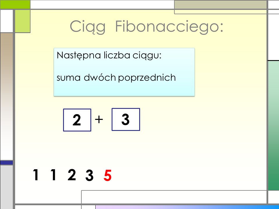 5 Ciąg Fibonacciego: Następna liczba ciągu: suma dwóch poprzednich Następna liczba ciągu: suma dwóch poprzednich 1 + 3 12 53 8