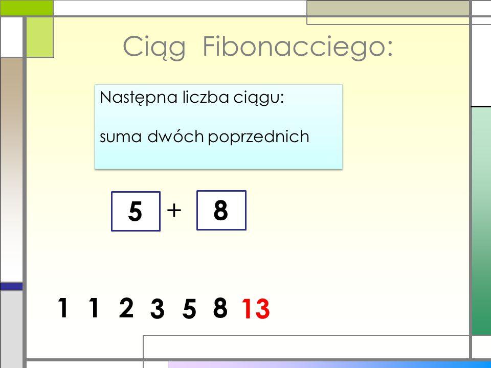Ciąg Fibonacciego: Następna liczba ciągu: suma dwóch poprzednich Następna liczba ciągu: suma dwóch poprzednich 1 + 8 12 53 218 13