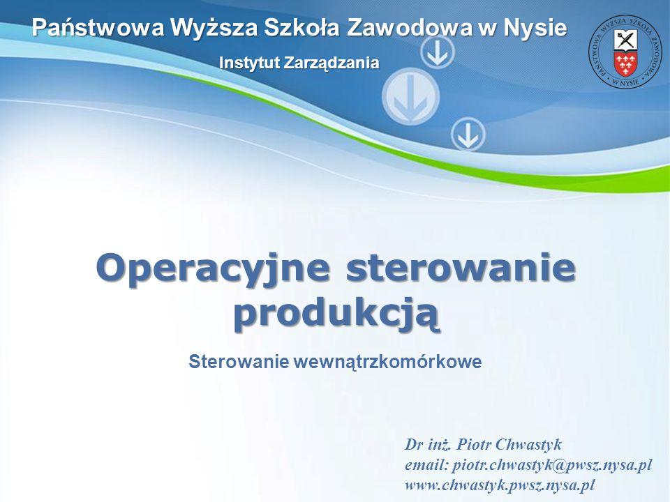 Powerpoint Templates Slajd 1 Powerpoint Templates Operacyjne sterowanie produkcją Dr inż. Piotr Chwastyk email: piotr.chwastyk@pwsz.nysa.pl www.chwast