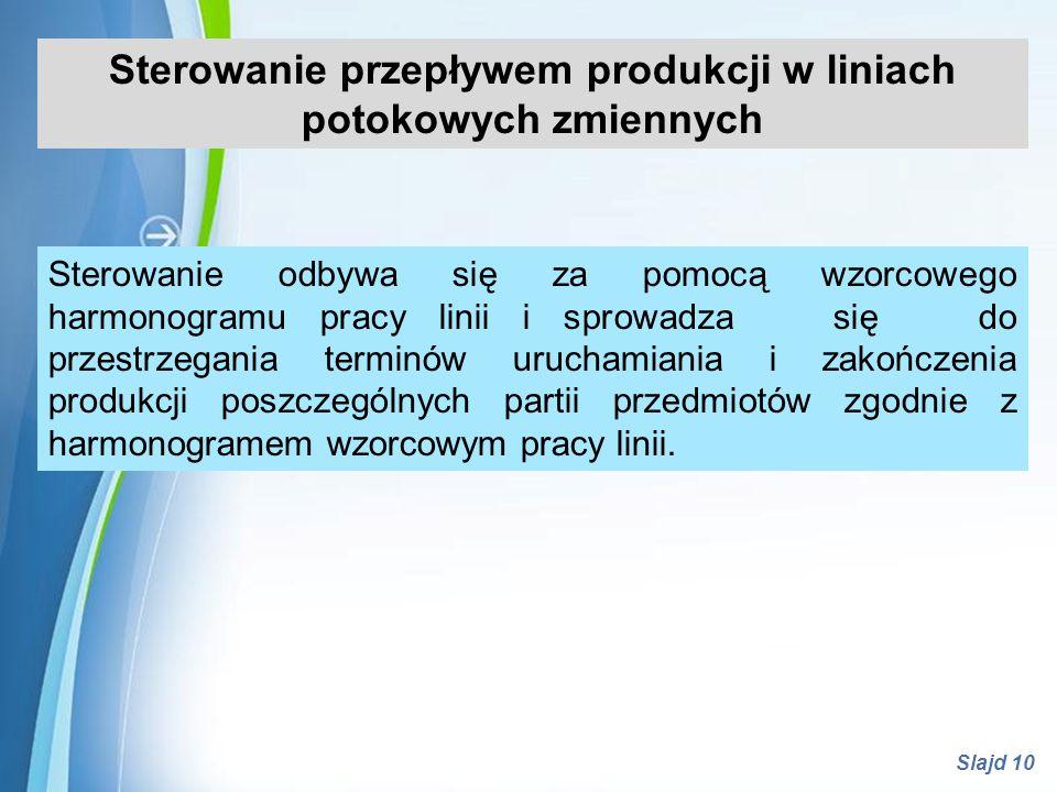 Powerpoint Templates Slajd 10 Sterowanie przepływem produkcji w liniach potokowych zmiennych Sterowanie odbywa się za pomocą wzorcowego harmonogramu p