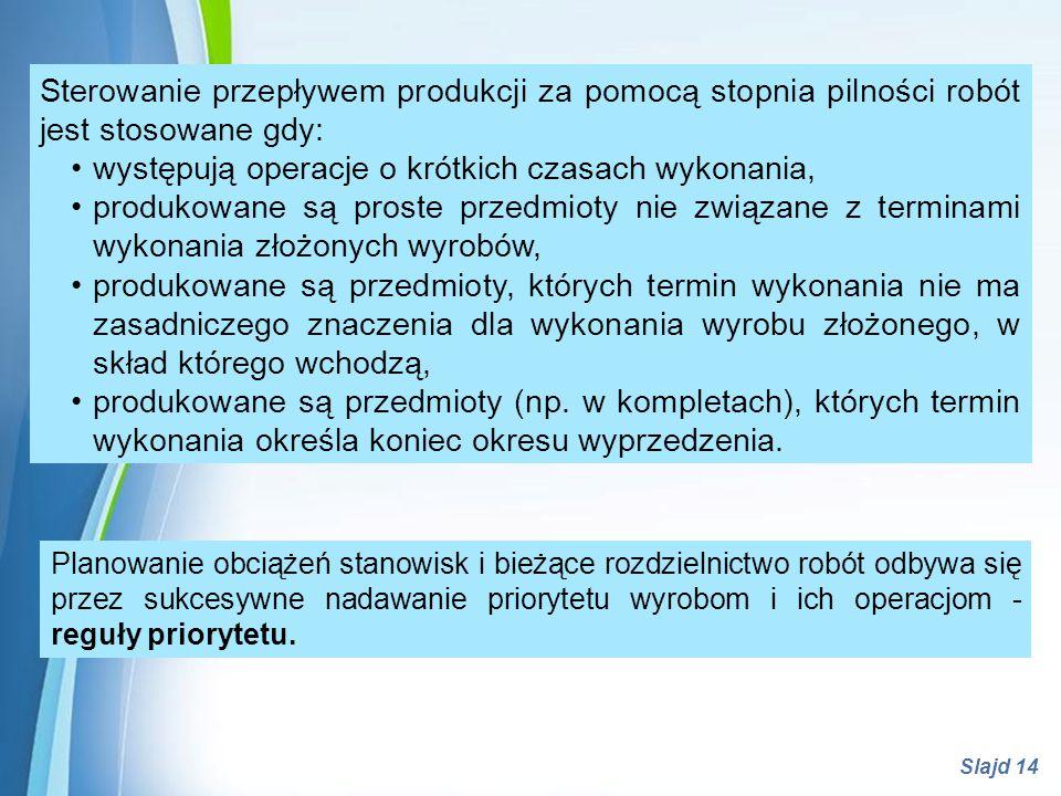 Powerpoint Templates Slajd 14 Sterowanie przepływem produkcji za pomocą stopnia pilności robót jest stosowane gdy: występują operacje o krótkich czasa