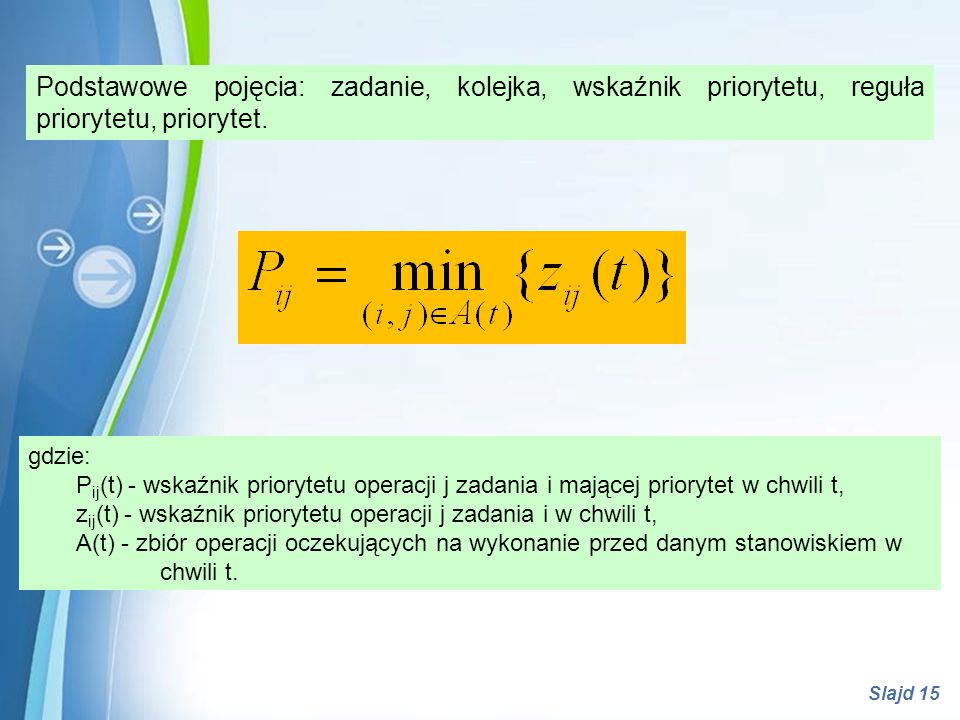 Powerpoint Templates Slajd 15 Podstawowe pojęcia: zadanie, kolejka, wskaźnik priorytetu, reguła priorytetu, priorytet. gdzie: P ij (t) - wskaźnik prio