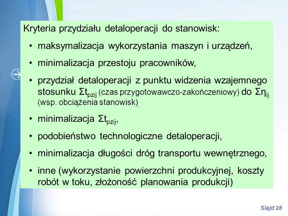 Powerpoint Templates Slajd 28 Kryteria przydziału detaloperacji do stanowisk: maksymalizacja wykorzystania maszyn i urządzeń, minimalizacja przestoju