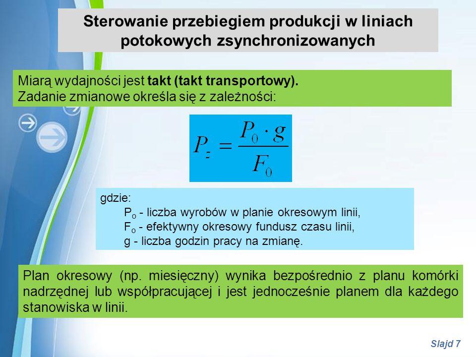 Powerpoint Templates Slajd 7 Sterowanie przebiegiem produkcji w liniach potokowych zsynchronizowanych Miarą wydajności jest takt (takt transportowy).