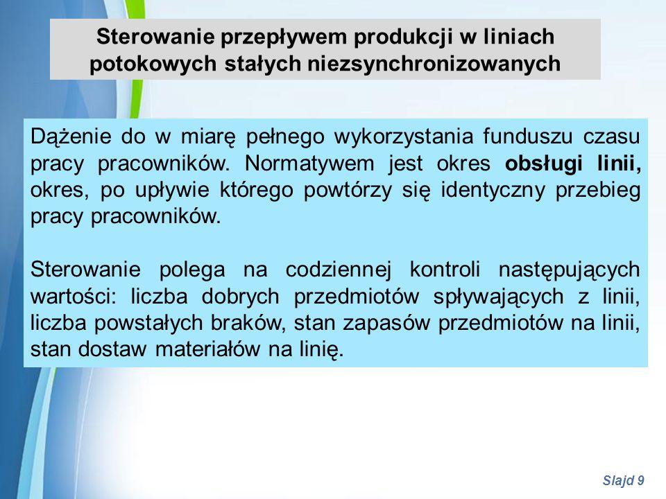 Powerpoint Templates Slajd 9 Sterowanie przepływem produkcji w liniach potokowych stałych niezsynchronizowanych Dążenie do w miarę pełnego wykorzystan