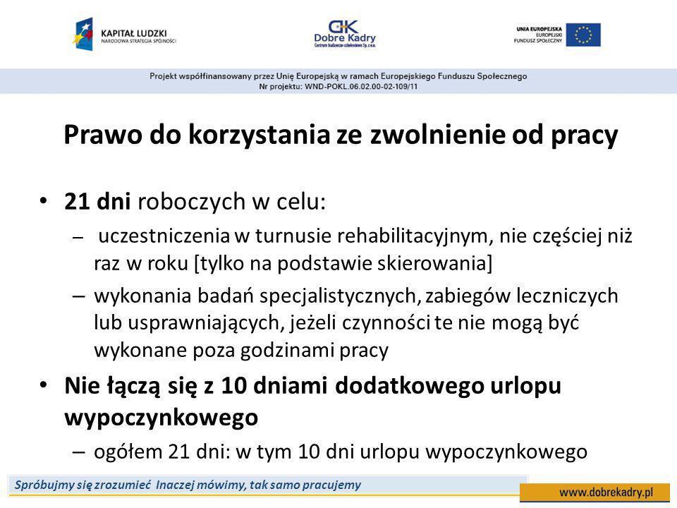 Spróbujmy się zrozumieć Inaczej mówimy, tak samo pracujemy Prawo do korzystania ze zwolnienie od pracy 21 dni roboczych w celu: – uczestniczenia w turnusie rehabilitacyjnym, nie częściej niż raz w roku [tylko na podstawie skierowania] – wykonania badań specjalistycznych, zabiegów leczniczych lub usprawniających, jeżeli czynności te nie mogą być wykonane poza godzinami pracy Nie łączą się z 10 dniami dodatkowego urlopu wypoczynkowego – ogółem 21 dni: w tym 10 dni urlopu wypoczynkowego