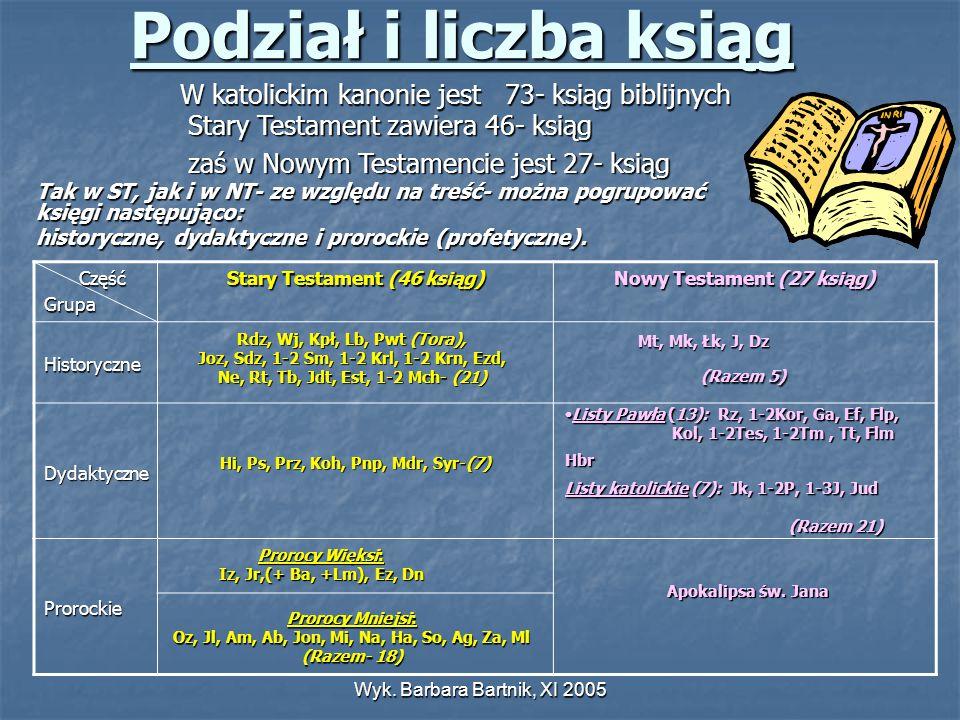 Wyk. Barbara Bartnik, XI 2005 Podział i liczba ksiąg W katolickim kanonie jest 73- ksiąg biblijnych Stary Testament zawiera 46- ksiąg zaś w Nowym Test