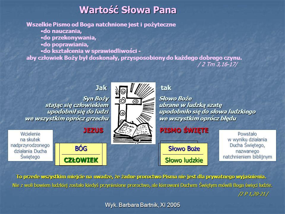Wyk. Barbara Bartnik, XI 2005 Wartość Słowa Pana Wszelkie Pismo od Boga natchnione jest i pożyteczne do nauczania, do przekonywania, do poprawiania, d