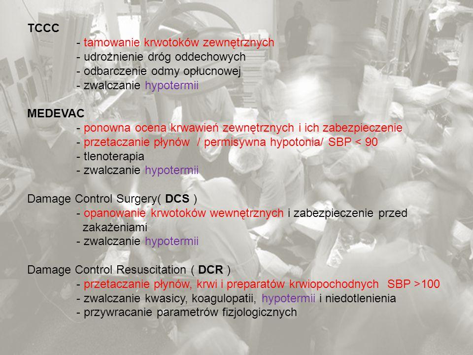 TCCC - tamowanie krwotoków zewnętrznych - udrożnienie dróg oddechowych - odbarczenie odmy opłucnowej - zwalczanie hypotermii MEDEVAC - ponowna ocena k