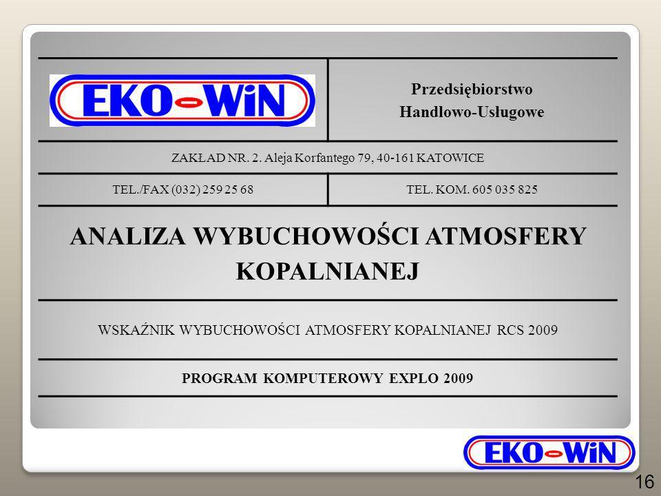 Przedsiębiorstwo Handlowo-Usługowe ZAKŁAD NR. 2. Aleja Korfantego 79, 40-161 KATOWICE TEL./FAX (032) 259 25 68TEL. KOM. 605 035 825 ANALIZA WYBUCHOWOŚ
